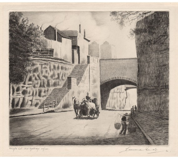 Argyle Cut Old Sydney etching Leonard Beck