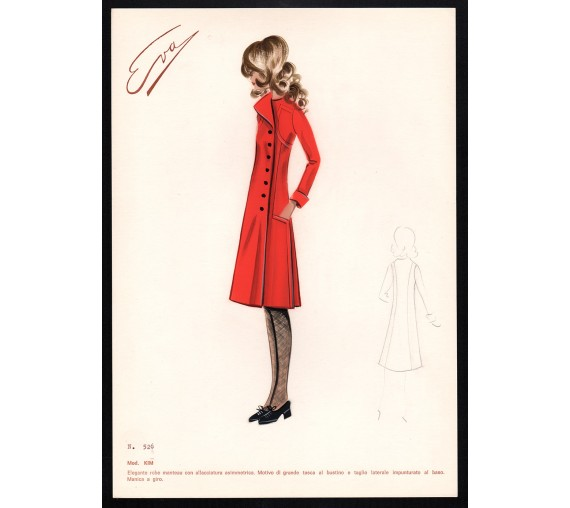 1960s italian original fashion design sketch kim