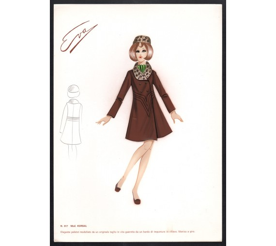 1960s italian original fashion design sketch kursal