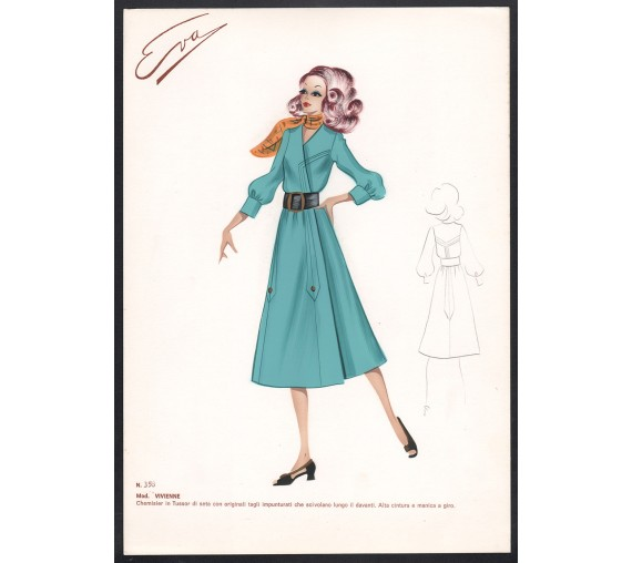 1960s italian original fashion design sketch vivienne