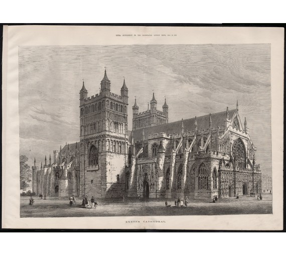 exeter cathedral engraving print antique