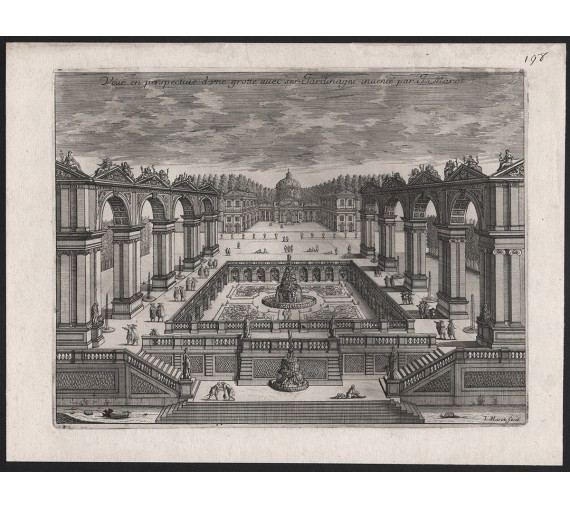 French 17th century garden antique engraving print marot