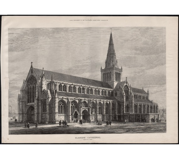 glasgow cathedral antique engraving print