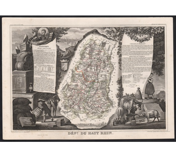 haut rhin levasseur french department antique map