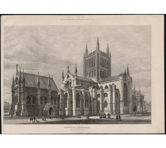 hereford cathedral engraving print antique