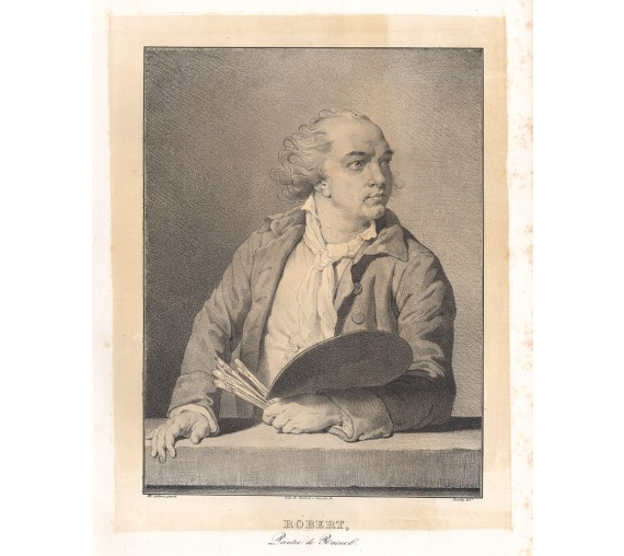Hubert Robert portrait lithograph Jourdy Lebrun