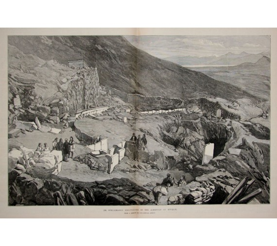 Dr Schliemann Excavations Mycenae engraving
