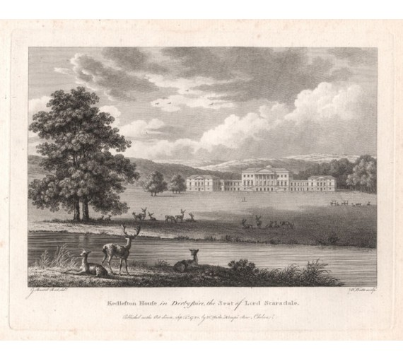 kedleston derbyshire antique print engraving