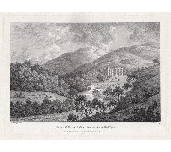 keeled castle northumberland antique print engraving