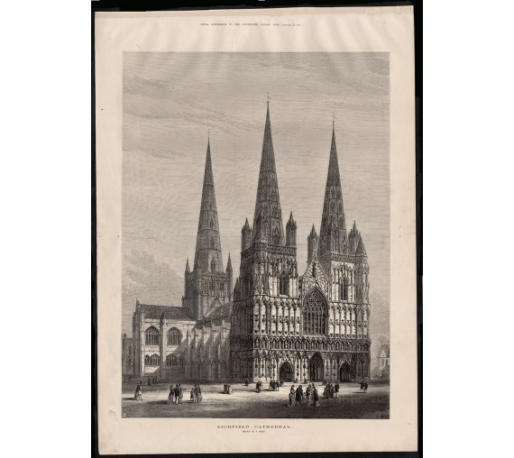 lichfield cathedral engraving print antique