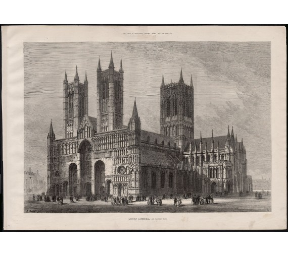 lincoln cathedral engraving print antique