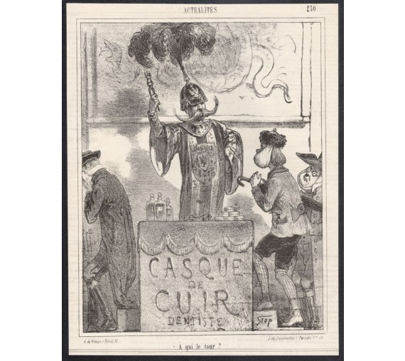 Casque de Cuir Dentiste french dentist lithograph stop le charivari