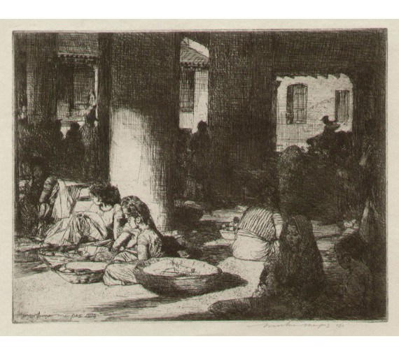 Bombay Mortimer Menpes etching textile mill