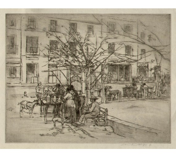 Mortimer Menpes etching town square