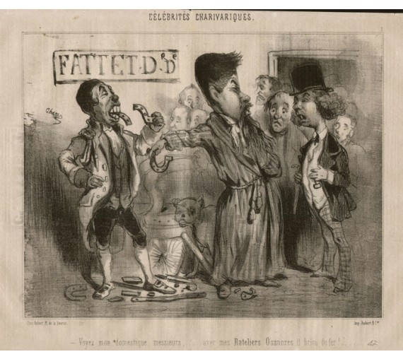 Dr Fattet Rateliers Osanores Cham Charivari dentist lithograph