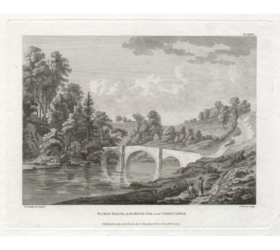 river dee chirk Paul Sandby antique print engraving