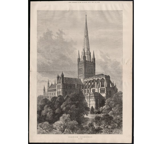 norwich cathedral engraving print antique