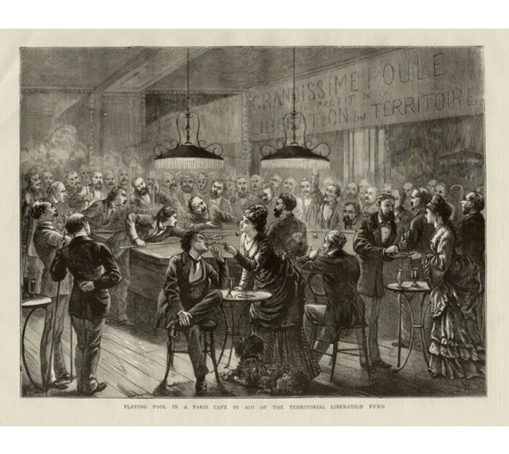 Playing Pool Paris Cafe antique engraving print