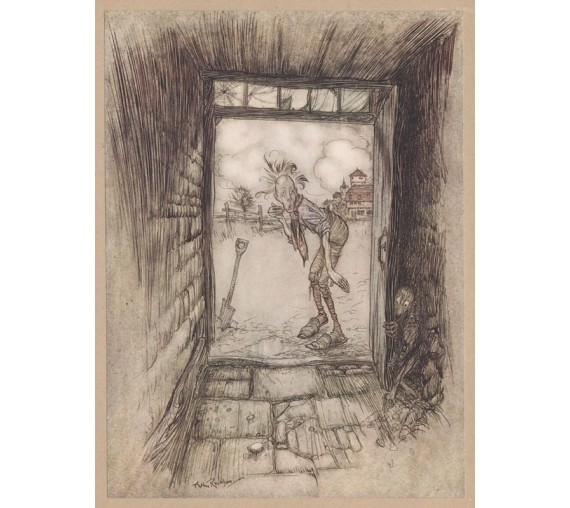 man terrified goblins illustration Arthur Rackham
