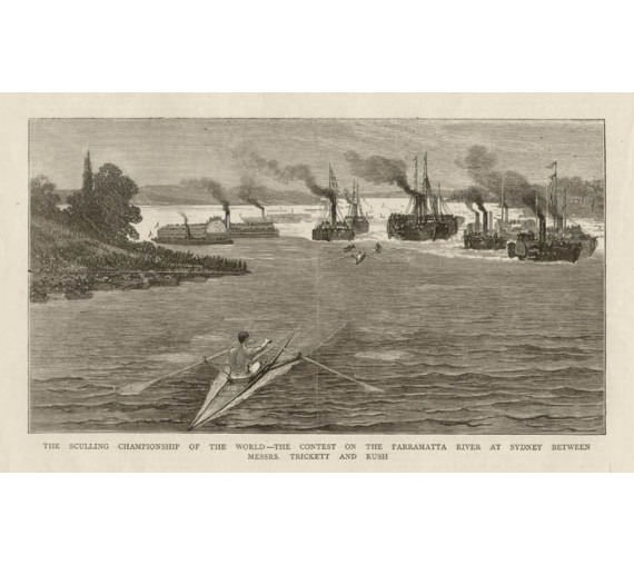 World Sculling Championship antique print engraving trickett rush