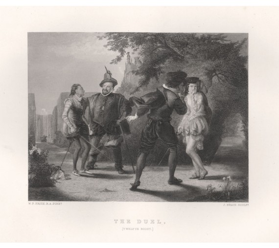 duel twelth night shakespeare engraving