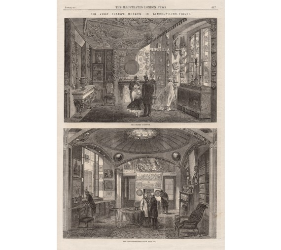 monks parlour  room john soon museum engraving print