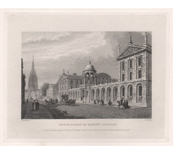 queens college oxford university engraving