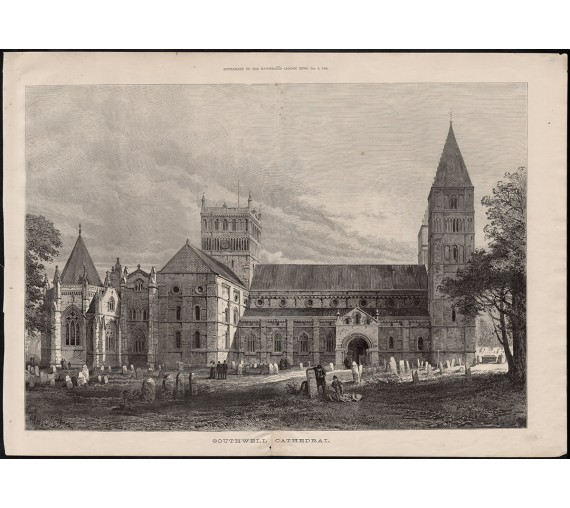 southwell cathedral engraving print antique