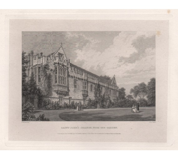 st johns college oxford university engraving
