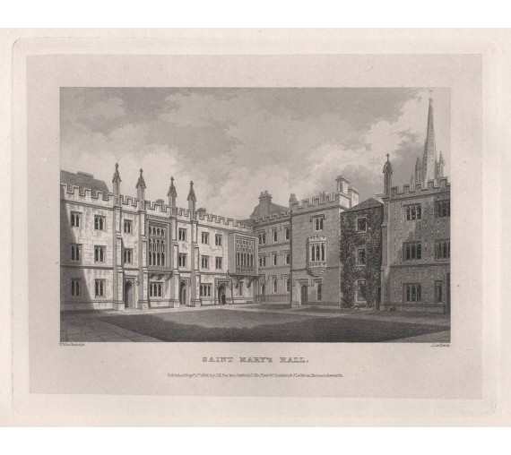 st marys college oxford university engraving