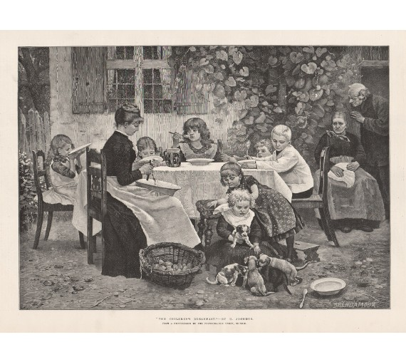 children breakfast jochmus engraving
