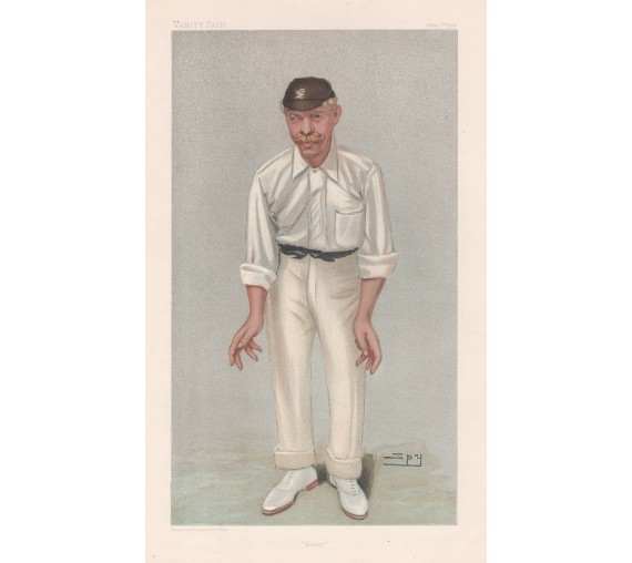 Bobby Robert Abel antique Vanity Fair cricket chromolithograph