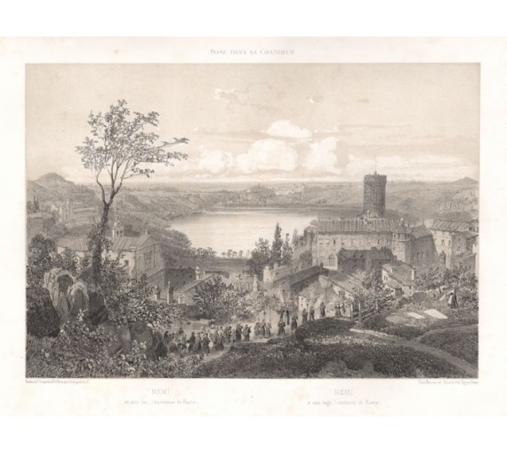 lake nemi rome antique lithograph