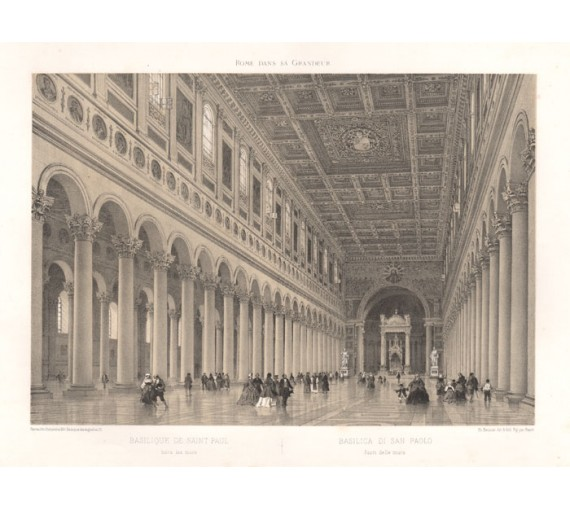 Basilica St Paul outside Walls lithograph benoist rome grandeur
