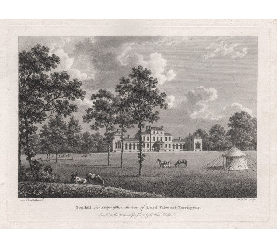 southill Watts Seats Nobility antique engraving