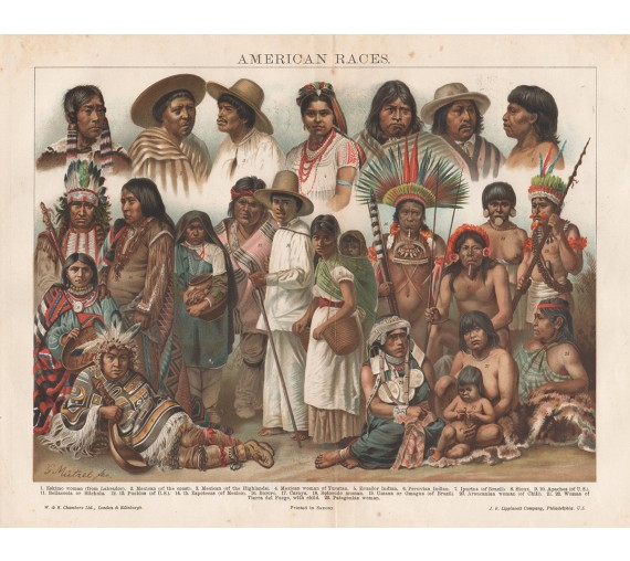 american races peoples antique print