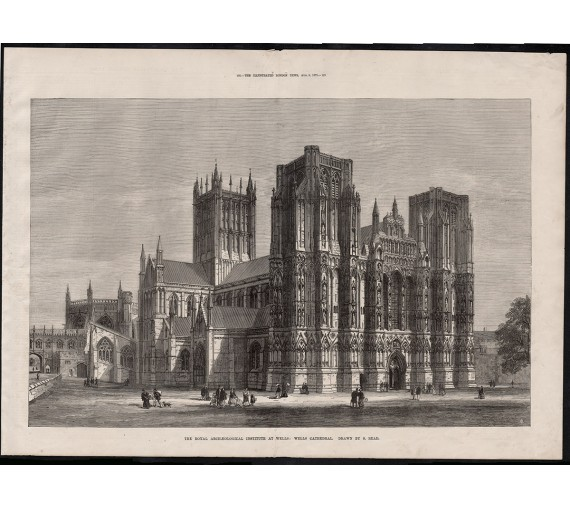 wells cathedral engraving print antique