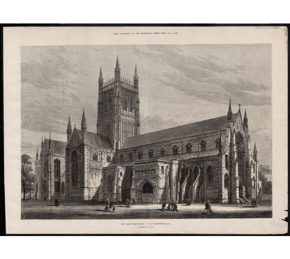 worcester cathedral engraving print antique