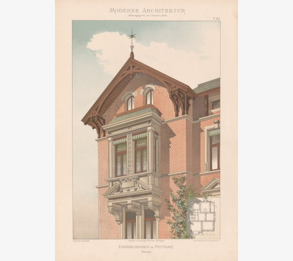 german architecture chromolithograph Stuttgart