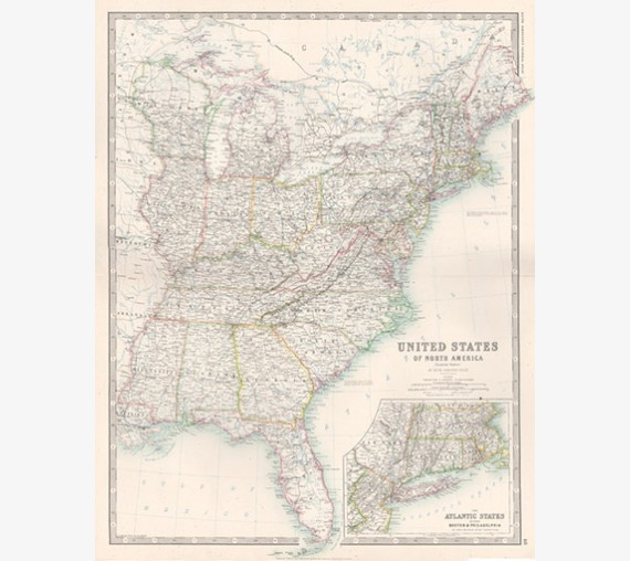 johnston united states eastern antique map usa