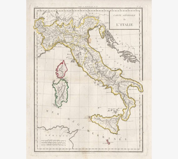 carte generale de italie italy sicily antique map