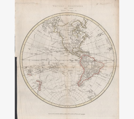 western hemisphere or the new world antique map