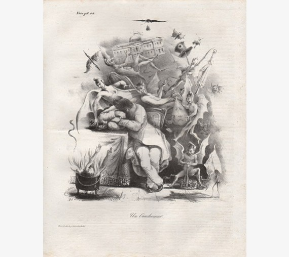 Un Cauchemar Nightmare French le charivari lithograph
