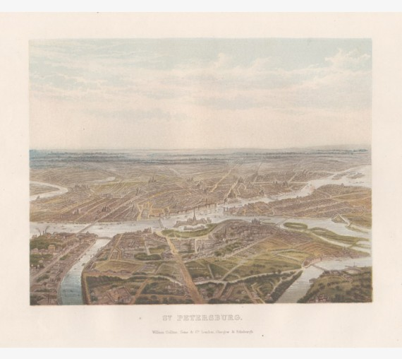 St Petersburg Russia antique birdseye lithograph view city
