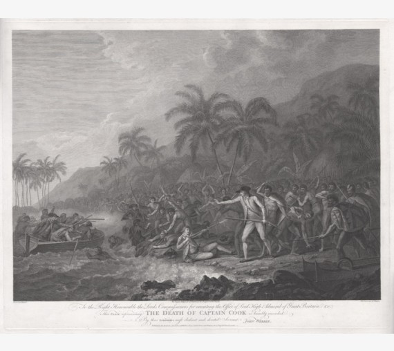 Death of Captain Cook engraving Bartolozzi Byrne Webber 1784