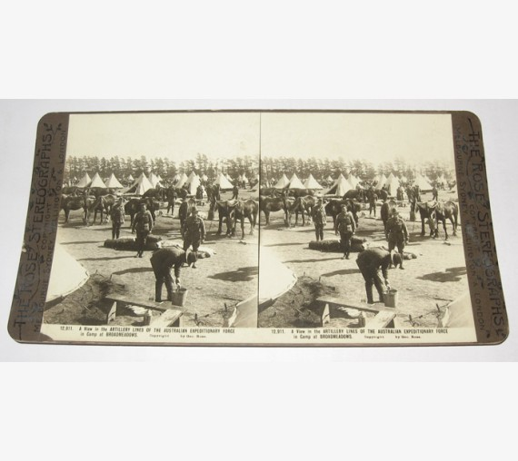 Artillery Australian Expeditionary Force Camp Broadmeadows Rose stereoview
