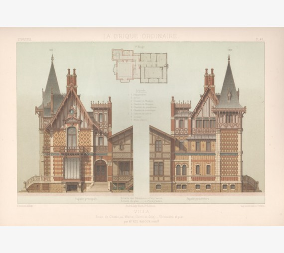 French architecture chromolithograph brique ordinaire brick antique print