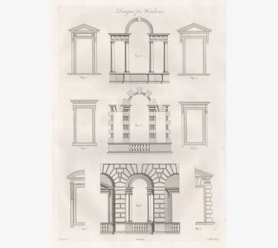 Windows William Chambers Civil Architecture antique engraving print