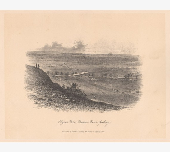 Fyans Ford Baron River Geelong lithograph ST Gill