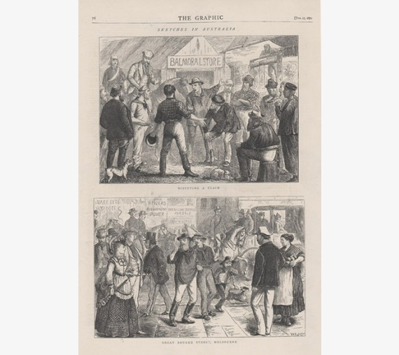 Disputing Claim Great Bourke Street Melbourne engraving